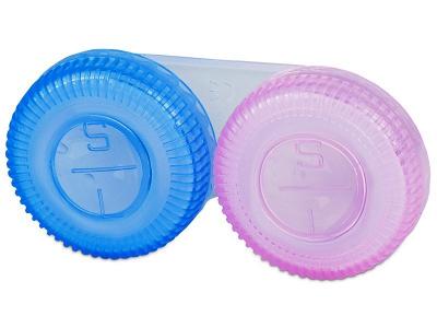 Rózsaszín és kék kontaktlencse tartó