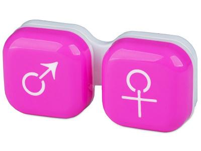 Lencse tartó - férfi&nő jelzéssel - rózsaszín
